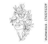 woman head with flowers... | Shutterstock .eps vector #1763251229