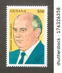 Small photo of GUYANA - CIRCA 1999: a postage stamp printed in Guyana showing an image of Mikhail Gorbachev, circa 1999.