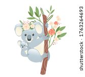 Cute Koala Family Mother With...
