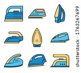 smoothing iron icons set.... | Shutterstock .eps vector #1763267699