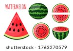 set of pieces of watermelon....   Shutterstock .eps vector #1763270579