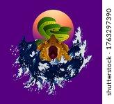 turtle and snake illustration... | Shutterstock .eps vector #1763297390