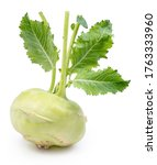 Small photo of Green kohlrabi with green leaves on isolated white background.