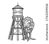 Water Tower Sketch Engraving...