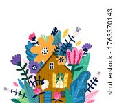 lovely house surrounded by... | Shutterstock .eps vector #1763370143