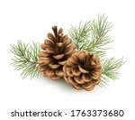 pine cone with a branch of... | Shutterstock .eps vector #1763373680