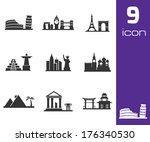 vector black landmarks icons... | Shutterstock .eps vector #176340530