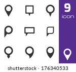 vector black map pointer icons... | Shutterstock .eps vector #176340533
