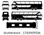 tourist bus silhouette on white ... | Shutterstock .eps vector #1763409506
