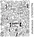hand drawn party doodle happy... | Shutterstock .eps vector #1763410796