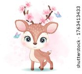 cute little deer with...   Shutterstock .eps vector #1763413433
