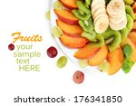 assortment of sliced fruits on... | Shutterstock . vector #176341850