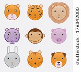 cartoon vector animals head set | Shutterstock .eps vector #176342000