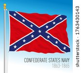 Confederate navy historical flag, 1863-1865, vector illustration