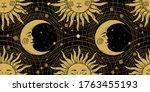 seamless pattern with a golden... | Shutterstock .eps vector #1763455193