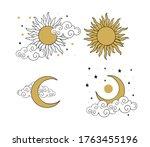 mystical golden boho tattoos... | Shutterstock .eps vector #1763455196