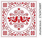 christmas scandinavian folk art ... | Shutterstock .eps vector #1763476889