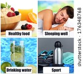 collage of healthy lifestyle   Shutterstock . vector #176348768