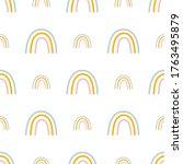 rainbow seamless pattern hand... | Shutterstock . vector #1763495879