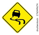 yellow slippery road sign ... | Shutterstock . vector #176349674