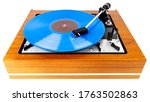 Vintage Turntable With A Blue...