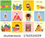 smiling people friend drinking... | Shutterstock .eps vector #1763524559
