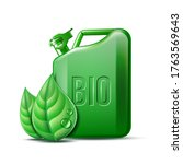 green canister with word bio...   Shutterstock .eps vector #1763569643