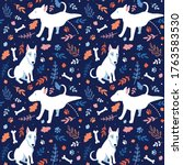 Seamless Cartoon Dogs Pattern...