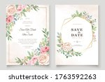 wedding invitation  floral... | Shutterstock .eps vector #1763592263