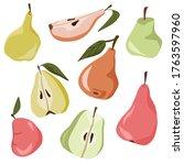 set of fresh green  yellow ... | Shutterstock .eps vector #1763597960