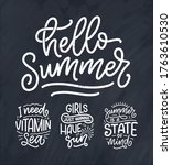 set with hand drawn lettering... | Shutterstock .eps vector #1763610530