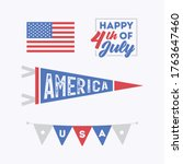 fourth of july set ... | Shutterstock .eps vector #1763647460
