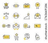 Royalty Program Line Icon Set....
