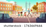 kids crossing city crossroad... | Shutterstock .eps vector #1763669666