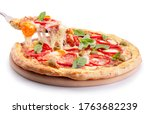 Small photo of Supreme slice pizza with melted cheese isolated on a white background