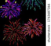 pixel firework. festive... | Shutterstock .eps vector #1763687366