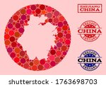 Vector map of Zhejiang Province collage of spheric spots and red watermark seal. Subtraction round map of Zhejiang Province collage formed with circles in variable sizes, and red color tints.