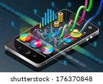 Detailed illustration of a Isometric Business Infographic on Mobile Phone