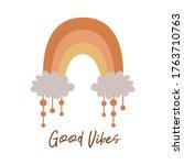 boho rainbow kids pastel...   Shutterstock .eps vector #1763710763