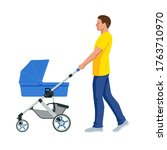 baby carriage isolated on a... | Shutterstock .eps vector #1763710970
