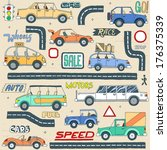 doodle colored cars set. vector ... | Shutterstock .eps vector #176375339