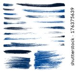 set of blue quality handmade... | Shutterstock . vector #176375639