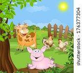 funny cartoon rabbits. vector... | Shutterstock .eps vector #176377304