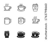 coffee and tea icons collection ... | Shutterstock .eps vector #1763798660