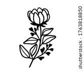 hand drawn monochrome flower...   Shutterstock .eps vector #1763818850
