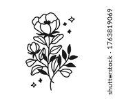 hand drawn monochrome flower...   Shutterstock .eps vector #1763819069