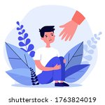 helping hand for crying boy.... | Shutterstock .eps vector #1763824019