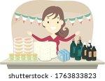 illustration of a girl selling... | Shutterstock .eps vector #1763833823