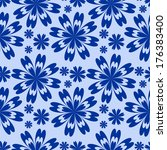 blue flower seamless pattern.  | Shutterstock .eps vector #176383400