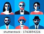 set of male and female avatars... | Shutterstock .eps vector #1763854226